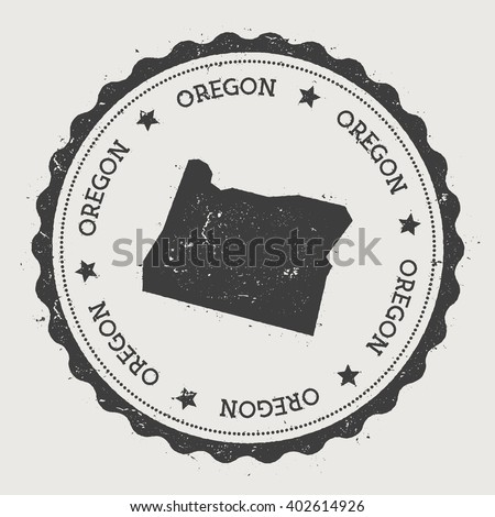 Oregon Vector Sticker Hipster Round Rubber Stamp With Us State Map Vintage Passport Stamp