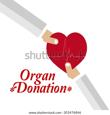 organ donation illustration over white color background - stock vector