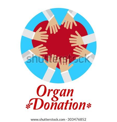 organ donation illustration over white color background ...