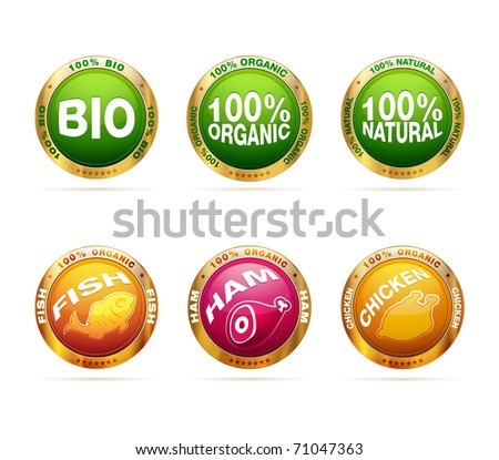 Organic and bio badge set | editable vector label collection - stock vector