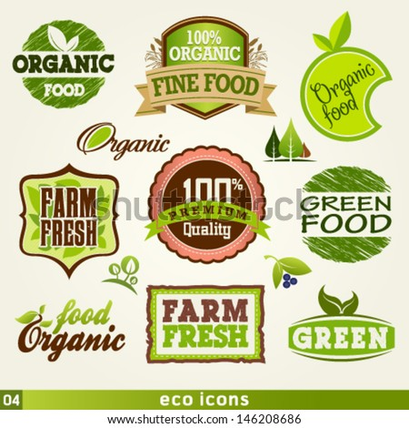 Organic and farm fresh food labels and Vector Elements set. Graphic Design Editable For Your Design. - stock vector