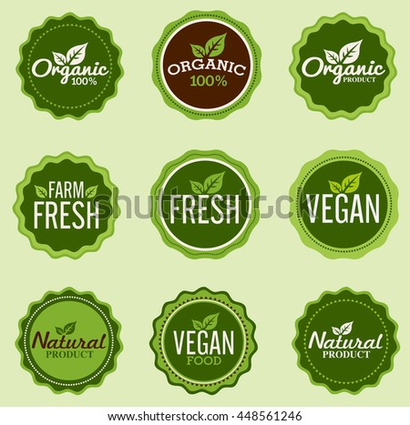 Organic badges and labels - stock vector
