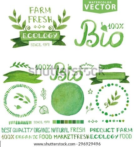 Organic,bio,ecology natural logotypes elements set.Vector Green organic Watercolor logo Badges,ribbons,plant element,wreaths,laurels,letters,text.Hand drawing painting design template.Bio green vector