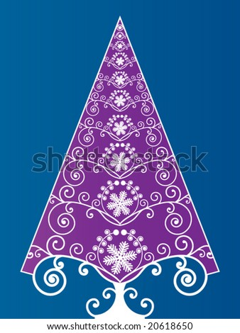 organic christmas tree decorative - stock vector