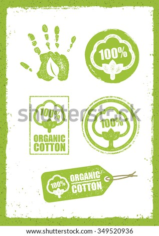 Organic Cotton Creative Concept On Grunge Rust Background. Eco Green Set Of Vector Icons.