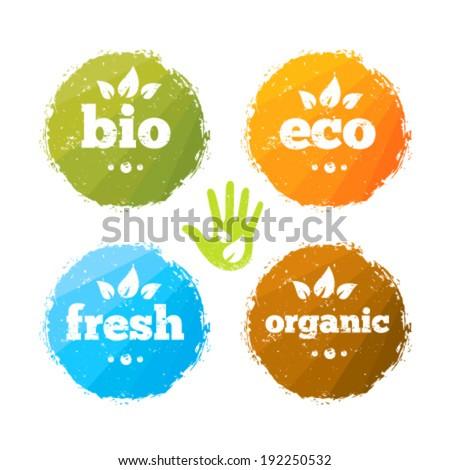 Organic Eco Friendly Bio Fresh Food Creative Vector Design Elements Set - stock vector