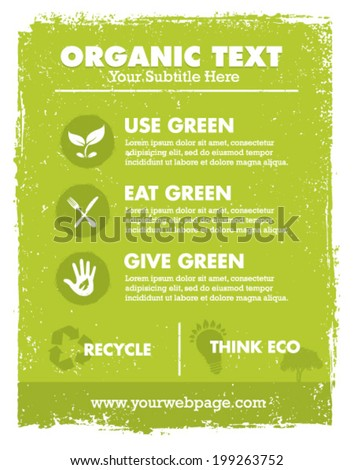 Organic Eco Green Vector Banner Background and Icons. Creative Nature Friendly Concept - stock vector