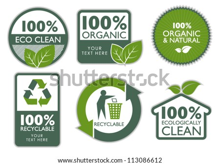 Organic Eco Recycle Green Icons and Labels - stock vector