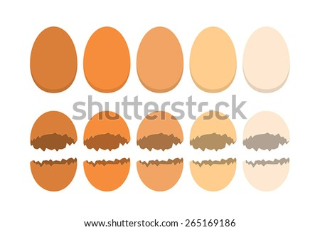 Organic eggs and cracked shells on the white background - stock vector