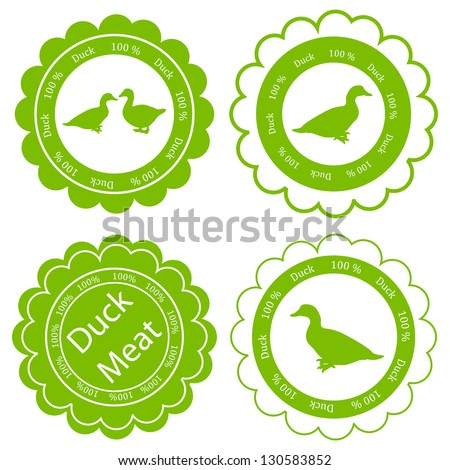 Organic farm and forest goose and duck meat food labels illustration collection - stock vector
