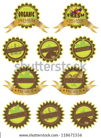 Organic Farm Fresh All Natural Gluten Free Premium Quality Labels Illustration Isolated on White Background Vector - stock vector