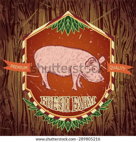 organic farm fresh. Vintage label with pig on wooden grunge background. Hand drawn vector illustration poster in sketch style