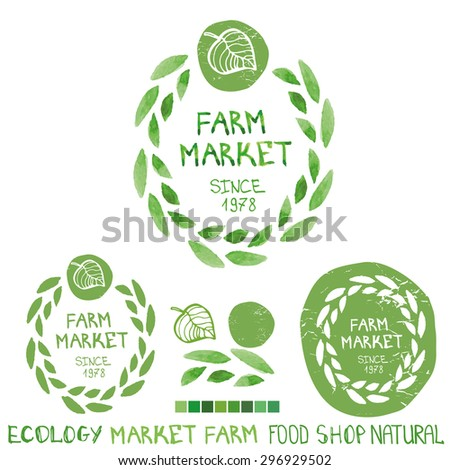 Organic farm market,bio,ecology natural  logotypes set.Green Watercolor logo.Laurels leaves wreath,Badges,plants ,letters and text.Hand drawing painting design template.Vintage vector - stock vector
