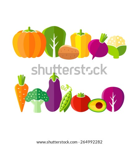 Organic farm vegetables illustration in flat style - stock vector