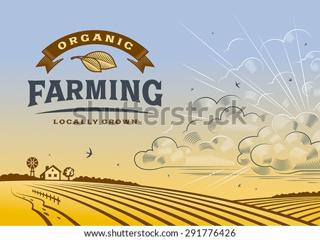 Organic Farming Landscape.  Editable vector illustration with clipping mask. - stock vector