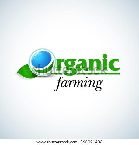Organic farming logo design concept template. Organic Logotype template. Organic Farm fresh products unique sign or icon art. Isolated vector illustration. - stock vector