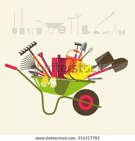 Organic farming. Wheelbarrow with tools to work in the garden. Adaptations for planting, digging up the ground, irrigation, fertilizer, spraying, weed control, harvesting in the garden. - stock vector