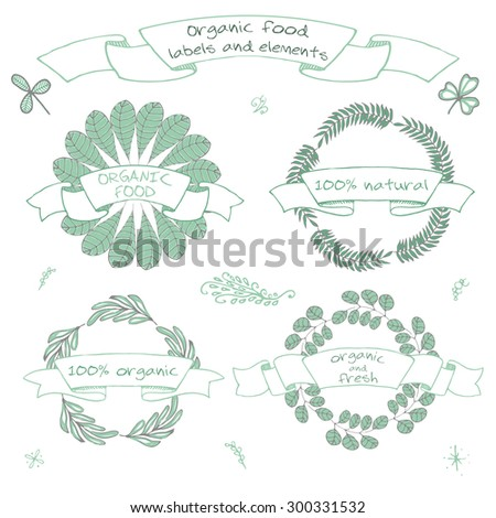 Organic food and cosmetics labels and elements, Set of hand drawn icons for restaurants and organic products shops and fresh farms, vegan food. Eco, Bio, Natural vector labels editable for your design - stock vector