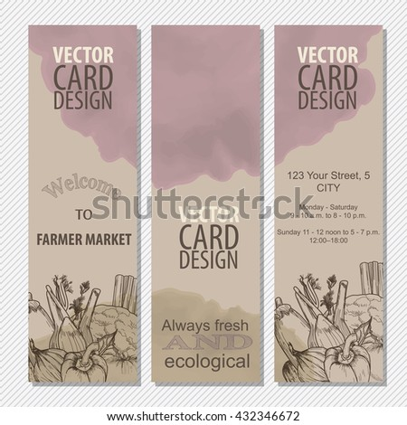 Organic food concept brochure and flyer template. Farmer market, ecological vegetables, diet food. Retro vintage card - stock vector