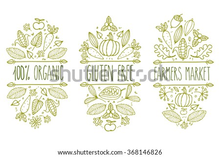 Organic food, gluten free, farmer market menu logo. Hand drawn vector sketch typographic element. Nature product label. Leaf, corn, carrot, cacao, cocoa, apple, pumpkin, floral, acorn.  - stock vector