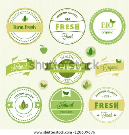 Organic food labels - stock vector