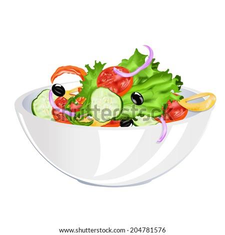 Organic food.Natural Vegetable Fresh Salad - stock vector