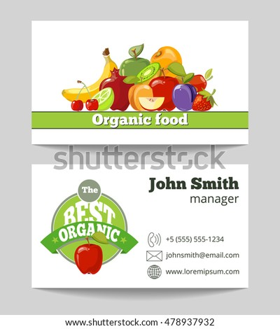 Organic food shop business card template for the fruit farm. Vector illustration