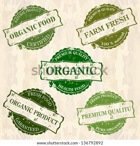 organic food  stamps - stock vector