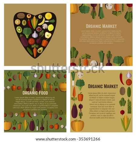 Organic food templates Set. Healthy eating vector concept with vegetables and place for Text. Can be used in menu, cooking books, organic farm labels, flyers. Fresh Vegetables and Fruits. - stock vector