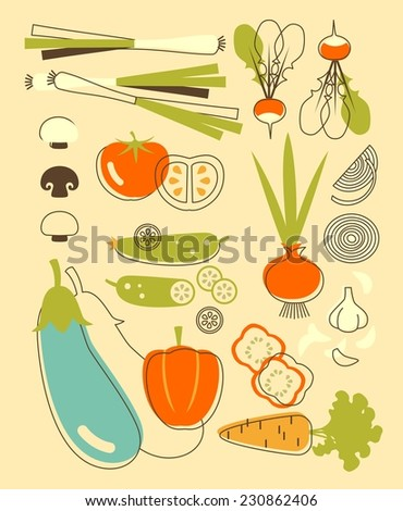Organic food vector illustration with silhouettes of vegetables - stock vector