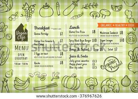 organic food vegan restaurant menu board or placemat vector template - stock vector
