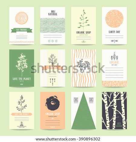 Organic goods card and flyer, Eco friendly products ad banner, Earth day poster. Artistic collection of vector templates with thin line icons, geometric symbols and hand drawn branches and plants. - stock vector