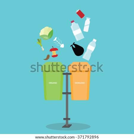organic inorganic recycle garbage bin separation segregate  separate bottle degradable waste trash - stock vector