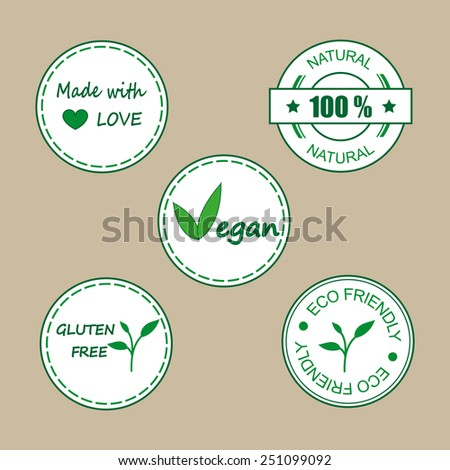 Organic labels for organic products and food. Set of Natural Organic product badges. - stock vector