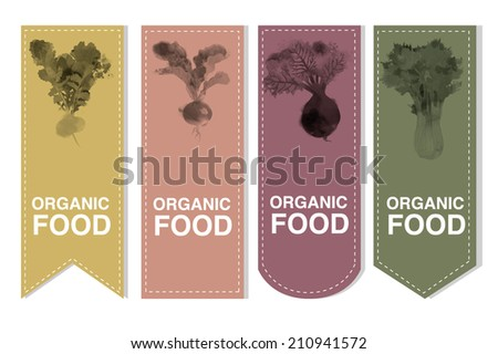 Organic Labels set with Vegetables  - stock vector
