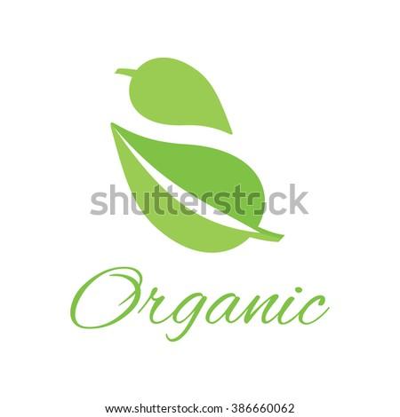 Organic logo green leaf design flat. Organic and logo, nature logo, leaf logo, organic label, nature green logo, eco organic  leaf, natural leaf plant, organic bio, health organic label illustration - stock vector