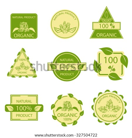 Organic natural emblems products, quality mark, elements flora, labels, set for food and drink, restaurants. Vector illustration