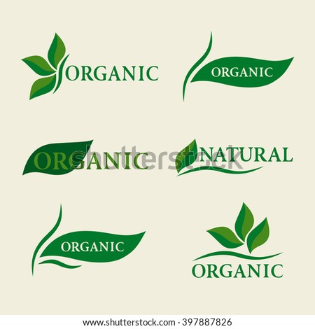 Organic natural logo design template signs with green leaves. Set of badges and labels elements for organic food and drink. Isolated Collection Of Ecology Icons, Symbols. Vector illustration - stock vector