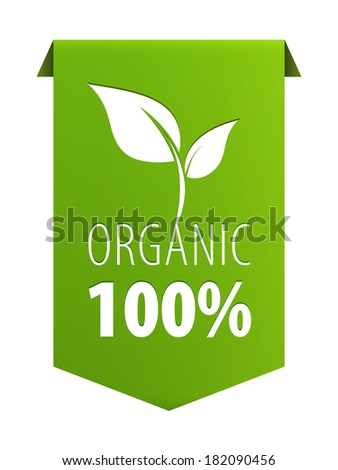 Organic 100 percent natural food green ribbon banner icon isolated on white background. Vector illustration - stock vector