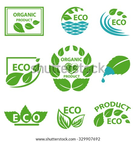 Organic products, eco logo, elements flora, labels, set for food and drink, restaurants. Vector illustration Isolated