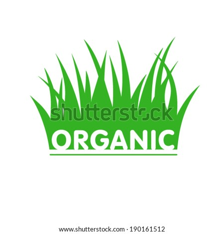 Organic sign wih grass - stock vector