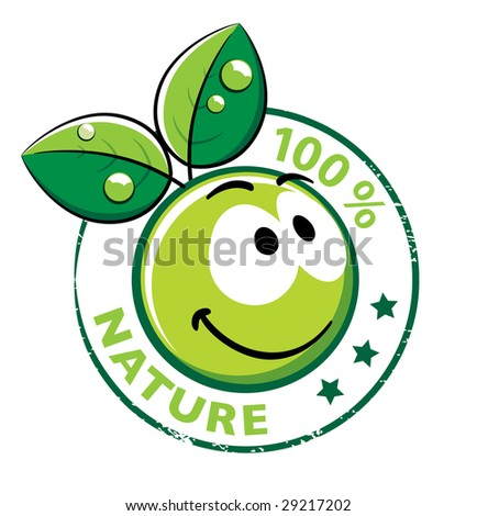Organic Smiley With green leaves - stock vector