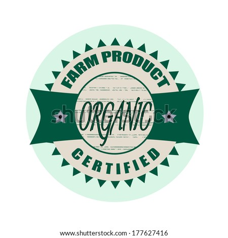 organic stamp whit on vector illustration