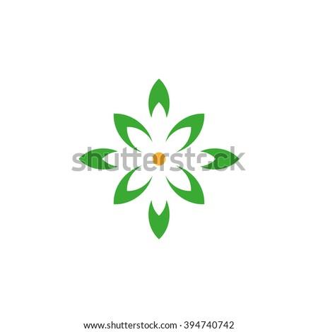 Organic vector green isolated logo. Leaves logo. Unusual abstract ecology beautiful logo. Leaves star. Leaves logo. Global eco logo. Orange circle. - stock vector