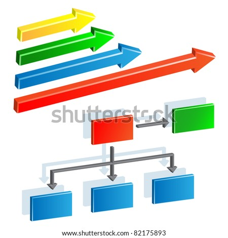 Organization chart and arrows - stock vector