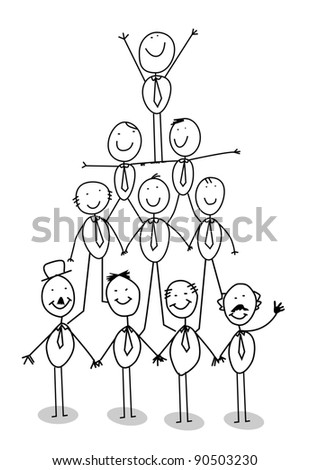 organization chart teamwork - stock vector