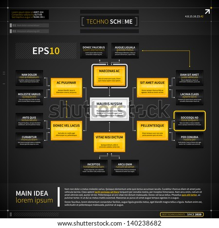 Organization chart template in techno style. EPS10. - stock vector