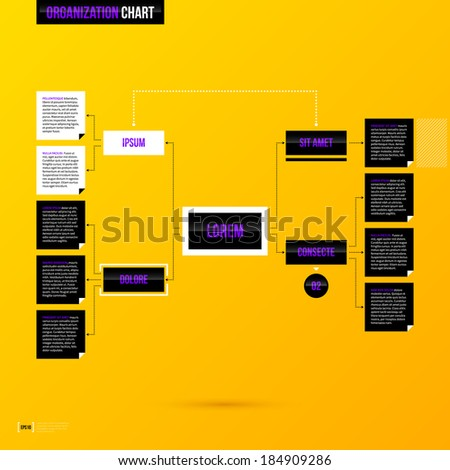 Organization chart template on bright yellow background in modern corporate style. EPS10 - stock vector