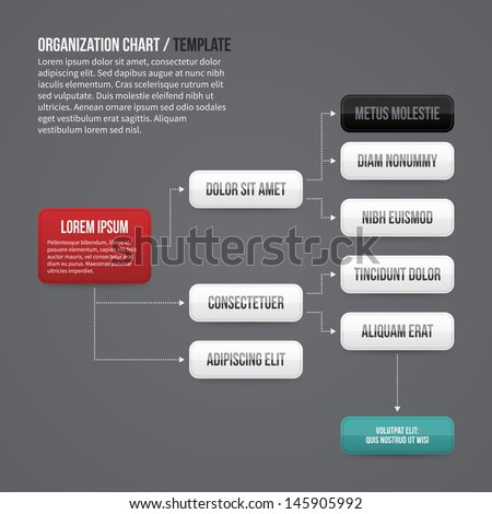Organization chart template with rectangle elements. EPS10. - stock vector