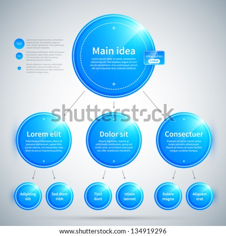 Organization chart with colorful glossy elements. Useful for presentations or advertising. - stock vector
